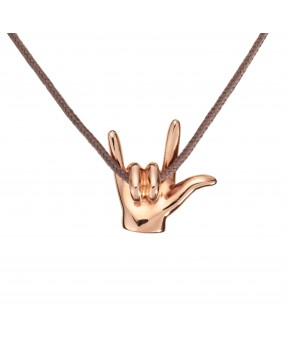 I Love You Pendant - Pink gold