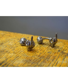 Up Yours Cufflinks Blackened Silver